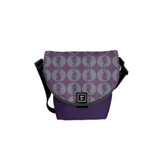Seahorse Pattern in Gray and Purple Courier Bag