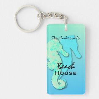 Seahorse Personalised Family Beach House Key Ring Single-Sided Rectangular Acrylic Key Ring