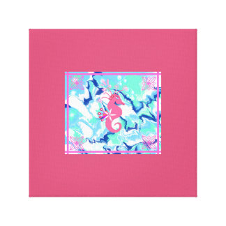 Seahorse Pink and Blue Art Canvas Print