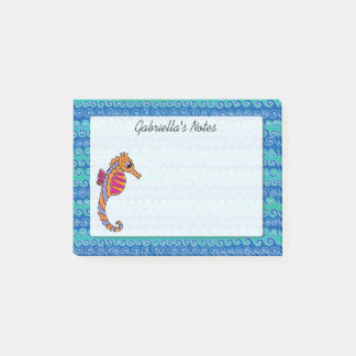 Seahorse Pink, Purple and Orange Personalized Post-it Notes