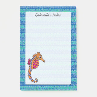 Seahorse Pink, Purple & Orange Personalized 4 x 6 Post-it Notes