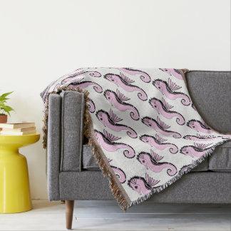 seahorse pink throw blanket