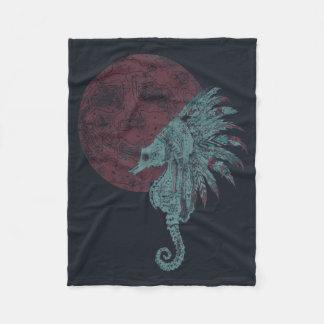 seahorse red moon fleece blanket