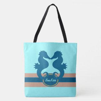 Seahorse Sea Kiss Custom Tote Bag