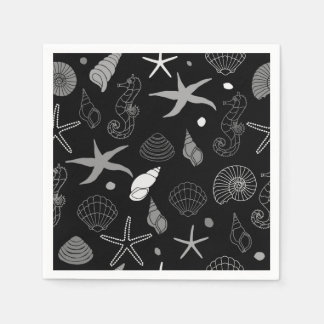 Seahorse Seashell Starfish Black Pattern Disposable Napkin