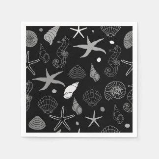 Seahorse Seashell Starfish Black Pattern Disposable Serviettes