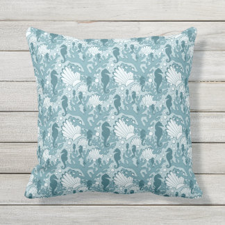 Seahorse Shell Coral Pattern Teal Throw Pillow