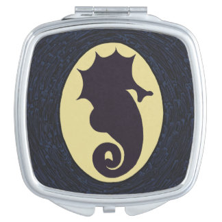 Seahorse silhouette Art Compact Mirrors