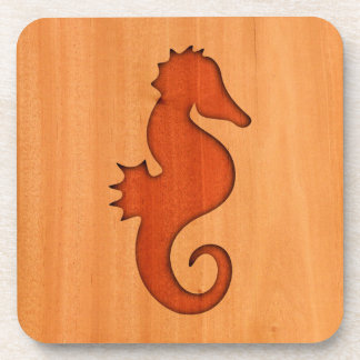 Seahorse silhouette on wood coaster