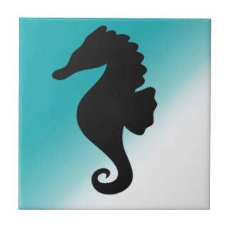 Seahorse Silhoutte Fresh and Natural Small Square Tile