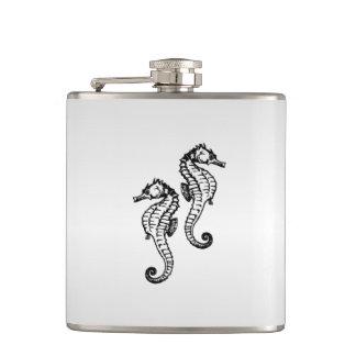 Seahorse Silver Flask