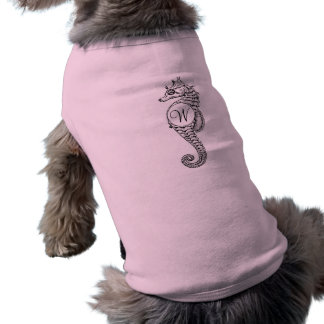 Seahorse Sketch Initialled Doggie Shirt