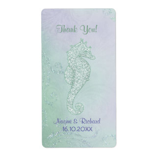 Seahorse Sparkle  -  Thank You Wine Label Shipping Label