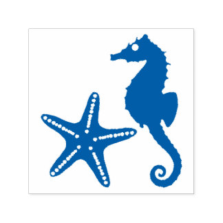 Seahorse & Star Fish Silhouette Self-inking Stamp