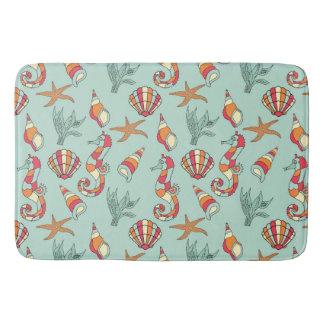 Seahorse, Starfish and Seashells Teal Bathroom Mat