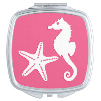 Seahorse & starfish - Coral Pink and White Makeup Mirrors