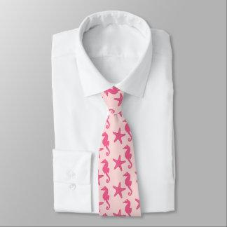 Seahorse & starfish - coral pink tie