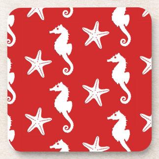 Seahorse & starfish - dark coral red and white beverage coaster