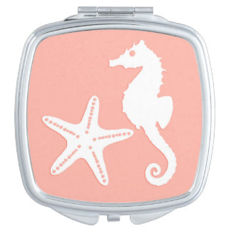 Seahorse & starfish - Light Coral Pink Compact Mirrors