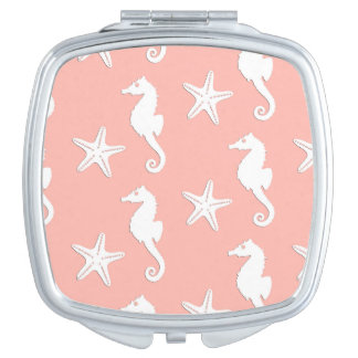 Seahorse & starfish - Light Coral Pink Travel Mirrors