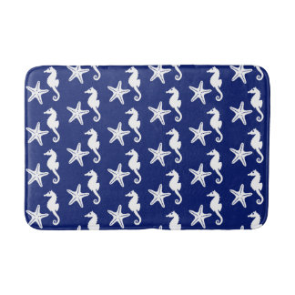 Seahorse & starfish - navy blue and white bath mat