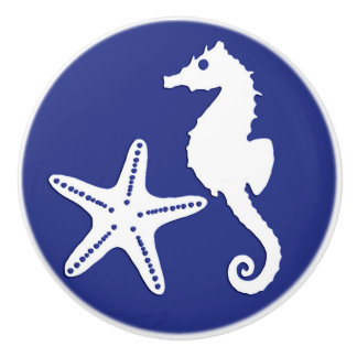 Seahorse & starfish - navy blue and white ceramic knob