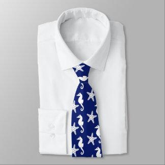Seahorse & starfish - navy blue and white tie
