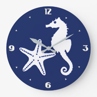 Seahorse & starfish - navy blue and white wallclocks
