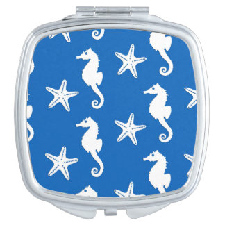 Seahorse & starfish - white on cobalt blue compact mirror