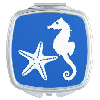 Seahorse & starfish - white on cobalt blue mirrors for makeup