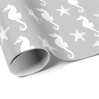 Seahorse & starfish - white on silver grey wrapping paper