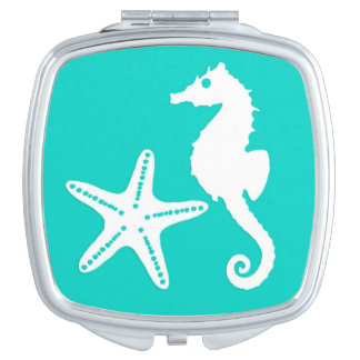Seahorse & starfish - white on turquoise mirrors for makeup