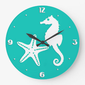 Seahorse & starfish - white on turquoise wall clock