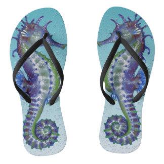 Seahorse Teal Bubble Thongs