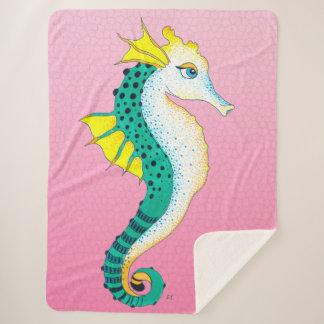 Seahorse Teal Cute Pink Sherpa Blanket