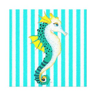 seahorse teal stripes canvas print