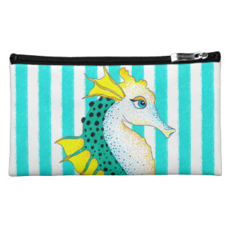 seahorse teal stripes cosmetic bag