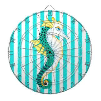 seahorse teal stripes dartboard