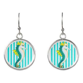 seahorse teal stripes earrings