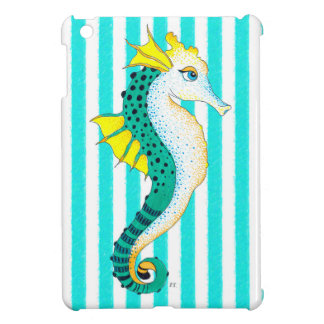 seahorse teal stripes iPad mini cover