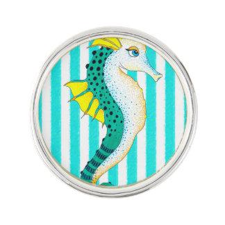 seahorse teal stripes lapel pin