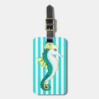 seahorse teal stripes luggage tag