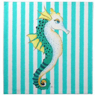 seahorse teal stripes napkin