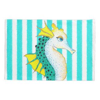 seahorse teal stripes pillowcase