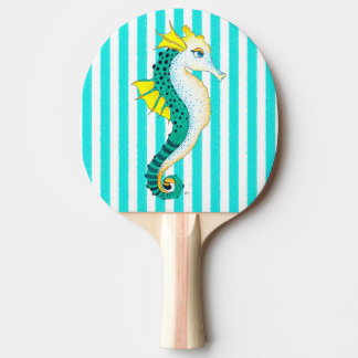 seahorse teal stripes ping pong paddle