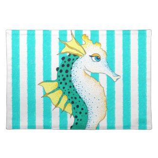 seahorse teal stripes placemat