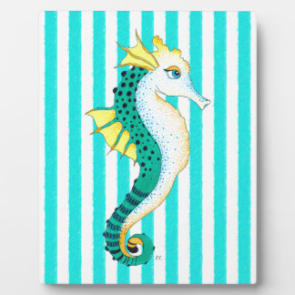 seahorse teal stripes plaque