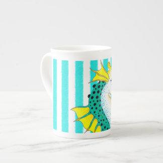 seahorse teal stripes tea cup