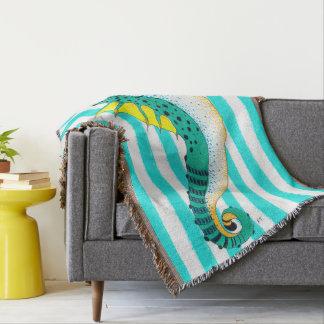 seahorse teal stripes throw blanket