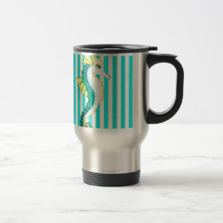 seahorse teal stripes travel mug